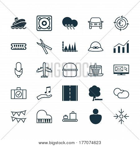 Set Of 25 Universal Editable Icons. Can Be Used For Web, Mobile And App Design. Includes Elements Such As Luggage Scanner, Automobile, Delete Woods And More.