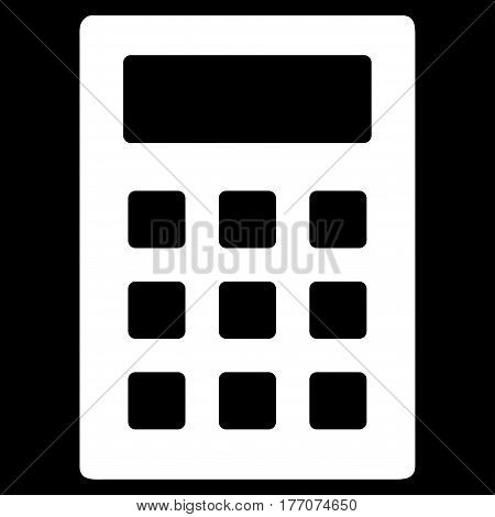 Calculator vector icon. Flat white symbol. Pictogram is isolated on a black background. Designed for web and software interfaces.