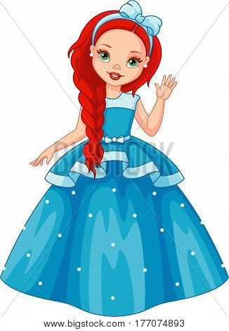 Cute little princess with red hair, EPS 8