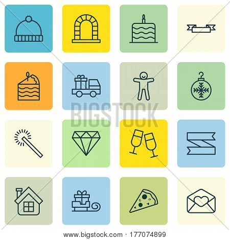 Set Of 16 Holiday Icons. Includes Champagne Glasses, Placard, Toboggan And Other Symbols. Beautiful Design Elements.