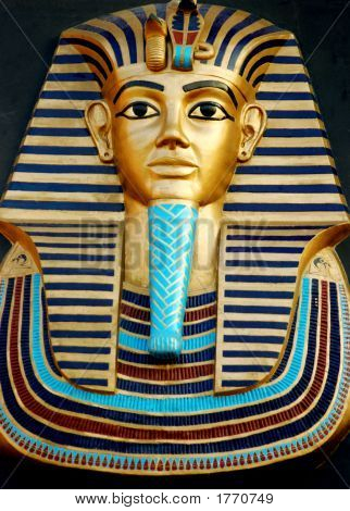 Close up of a statue of Egyptian Pharaoh poster