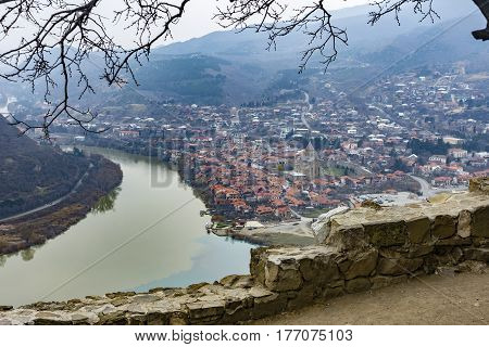 View of Mtskheta ancient capital of Georgia from Jvari monastery in early spring