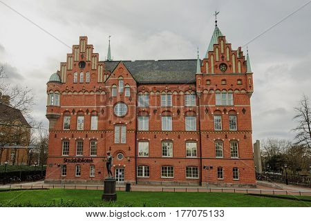 MALMO SWEDEN - MARCH 12 2017: Malmo City Library (in Swedish: Malmo stadsbibliotek) is a municipal public library opened in 1905. In 1946 it moved to the castle at Regementsgatan.