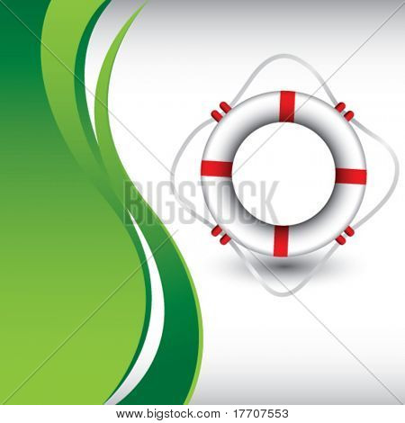 life ring on green wave background