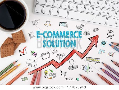 E-Commerce Solution, Business Concept. Computer keyboard and cup of coffee on a white table.