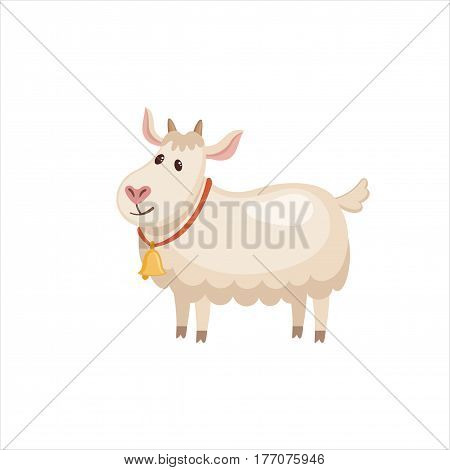 Cute goatling in flat style isolated on white background. Vector illustration. Cartoon goat.