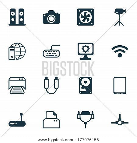 Set Of 16 Computer Hardware Icons. Includes Camera, Internet Network, Network Structure And Other Symbols. Beautiful Design Elements.