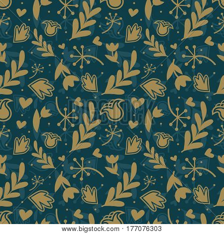 Seamless floral pattern with different elements of Golden color.