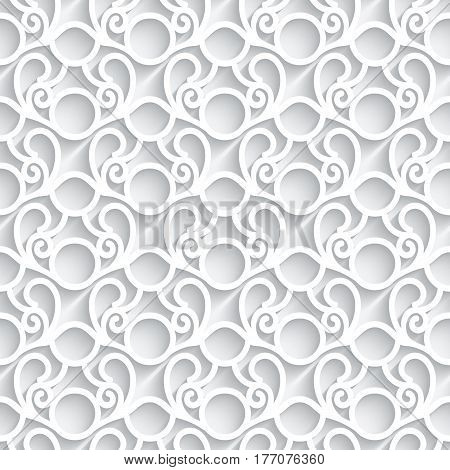 White paper pattern laser cut lace texture swirly tulle background seamless ornament in neutral color