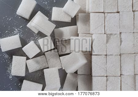 background of sugar cubes. Top view on cubes sugar
