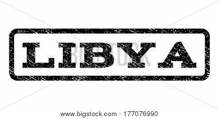 Libya watermark stamp. Text tag inside rounded rectangle frame with grunge design style. Rubber seal stamp with scratched texture. Vector black ink imprint on a white background.