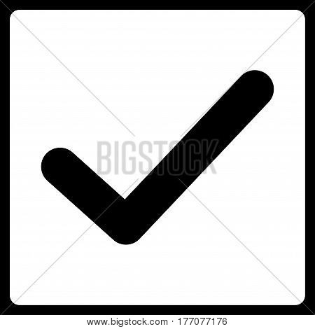 Valid Tick vector icon. Flat white symbol. Pictogram is isolated on a black background. Designed for web and software interfaces.