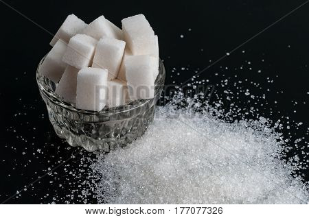 white granulated and refined sugar. Top view