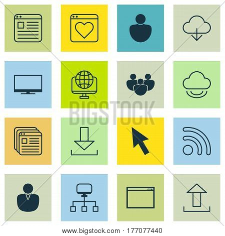 Set Of 16 Internet Icons. Includes Virtual Storage, Save Data, Program And Other Symbols. Beautiful Design Elements.