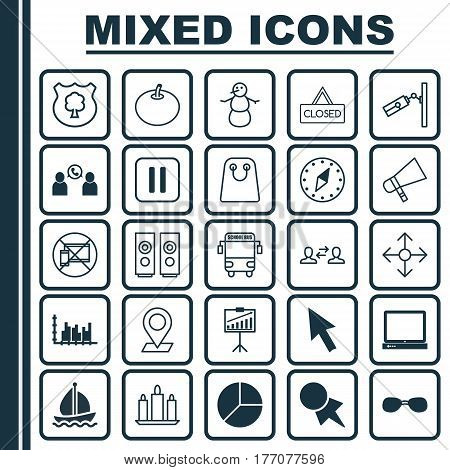 Set Of 25 Universal Editable Icons. Can Be Used For Web, Mobile And App Design. Includes Elements Such As Business Exchange, Mouse, Graph Collection And More.