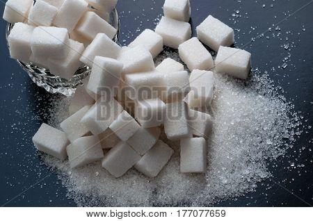 Various kinds of sugar. Top view closeup