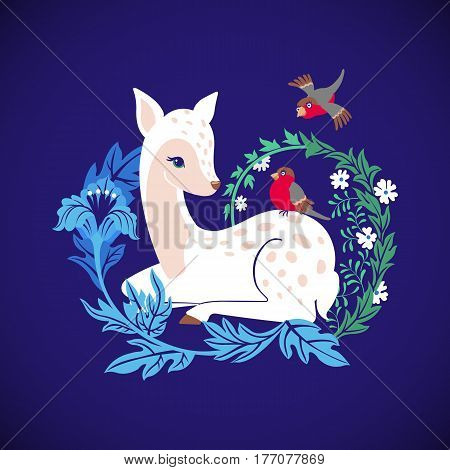 Cute deer with bullfinch and floral ornament on blue background. Cartoon fawn with birds. Vector illustration.