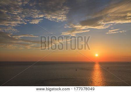 Beautiful sunset at Promthep cape view point Phuket Thailand
