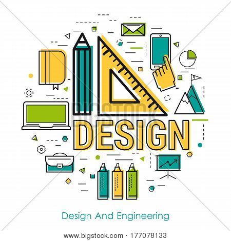Vector round concept of Design And Engineering in thin line style. Letters and Pencil and ruler and office items and icons
