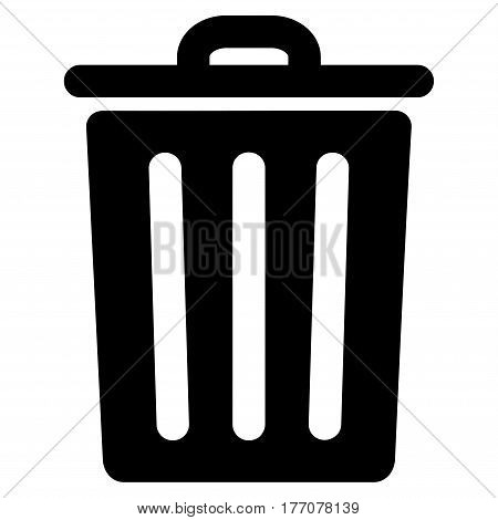 Dustbin vector icon. Flat black symbol. Pictogram is isolated on a white background. Designed for web and software interfaces.
