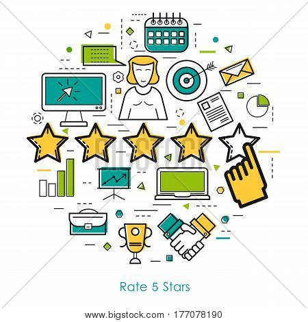 Vector round web banner of rate five stars. Modern thin line icons in three colors. Hand makes rate and pictographs of business and office items, computer, laptop, people user and application settings