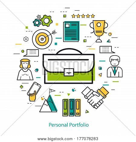Vector round concept of business personal portfolio and case study in thin line style. Portfolio as a symbol and business icons