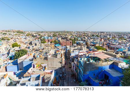 Jodhpur Rajasthan India famous travel destination and tourist attraction. The blue city viewed from above in daylight wide angle.