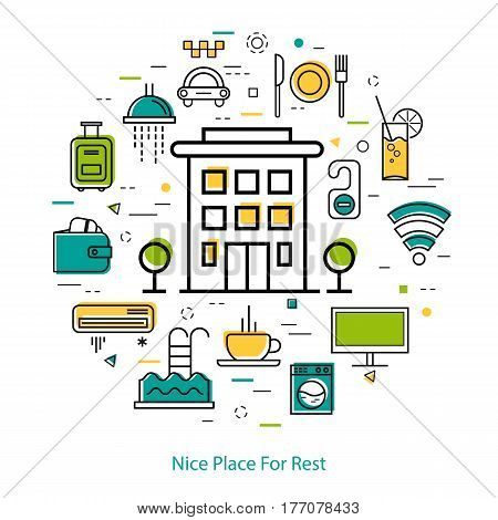 Vector round web banner of best hotel or place for rest. Modern thin line icons in three colors. Hotel building and pictographs of hotel service, communications, coffee, payment and room accessories