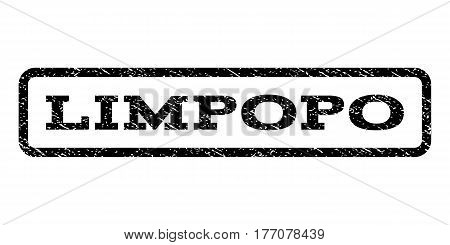 Limpopo watermark stamp. Text tag inside rounded rectangle with grunge design style. Rubber seal stamp with unclean texture. Vector black ink imprint on a white background.