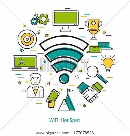 Vector Wifi Hot Spot Round Banner and Free wi-fi zone concept in Thin Line Art Style. Wireless access point icon and set of business icons - computer, laptop, smart phone and man user