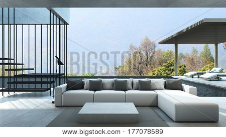Livingroom in house style modern & loft pool villa take view mountain /Daybed on the floor concrete -3D render
