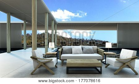 Lounge outdoor pool villa take a view mountain -3D render