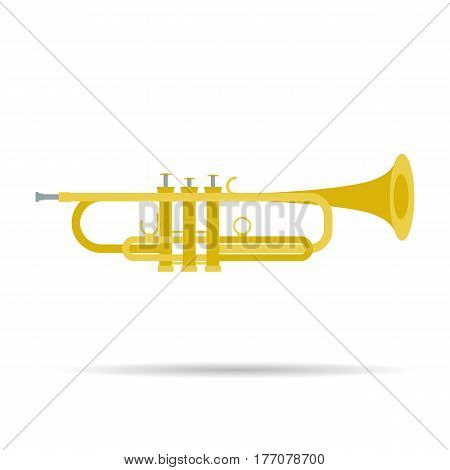 Vector isolated flat icon of trumpet. Musical instruments