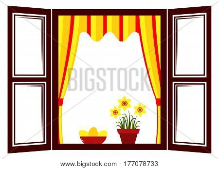 vector daffodils and easter eggs in the window