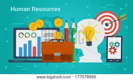 Vector Concept Business Human Resources. Silhouette of man face with lamp, computer, smart phone and money in flat on green background