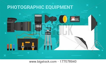 Vector long banner of photographic equpment. Photo camera, photographic accessories, lighting for studio in flat style on green background
