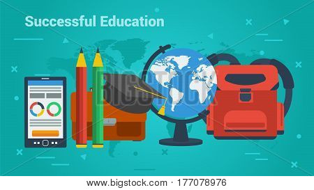 Vector concept Successful Education. Globe, mobile, backpack, student cap and pencils. Banner for schools, universities or remote online training in flat style on green background