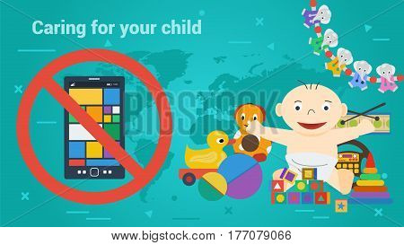 Vector concept caring about children and child addiction on electronic devices. Toys and smart phone in prohibiting sign. Banner for parents, education and social programms in flat style on green