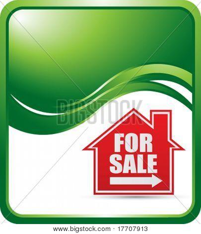 Haus zum Verkauf unterzeichnen auf grüne Welle Hintergrund