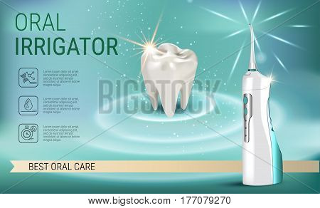 Electric Oral Irrigator ads. Vector 3d Illustration with Portable Water Pick Flosser. Horizontal banner with high tech products.