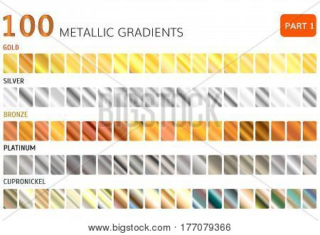 Hundred  metal gradients  . Gold , Silver , bronze , platinum ,  cupronickel