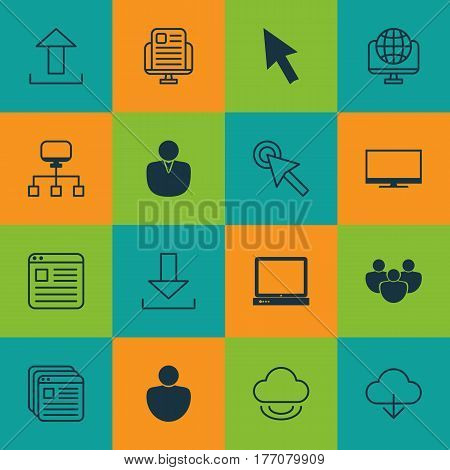 Set Of 16 Web Icons. Includes Team, Computer Network, Human And Other Symbols. Beautiful Design Elements.