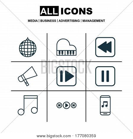 Set Of 9 Audio Icons. Includes Octave, Audio Buttons, Audio Mobile And Other Symbols. Beautiful Design Elements.
