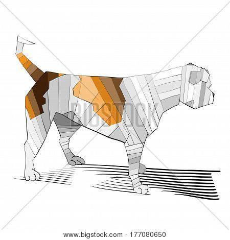 vector illustration of an outlined colored exciting and looking away american bulldog