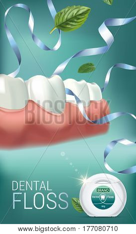 Dental floss ads. Vector 3d Illustration with tooth floss. Vertical banner with product.