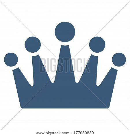 Crown vector icon. Flat blue symbol. Pictogram is isolated on a white background. Designed for web and software interfaces.