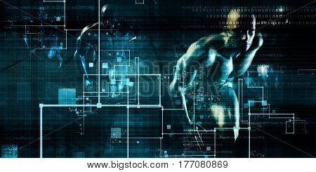 Data Network with Fast Moving Data Packets 3D Illustration Render