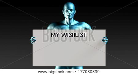 My Wishlist with a Man Carrying Reminder Sign 3D Illustration Render