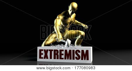 Eliminating Stopping or Reducing Extremism as a Concept 3D Illustration Render