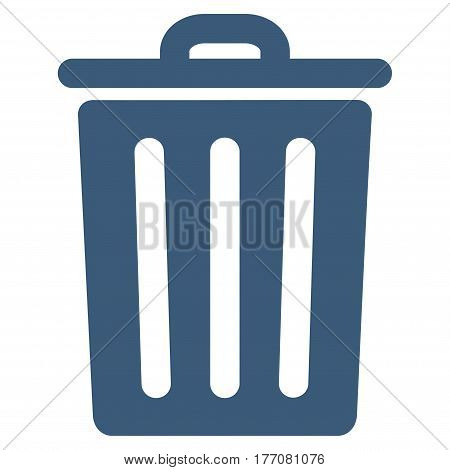 Dustbin vector icon. Flat blue symbol. Pictogram is isolated on a white background. Designed for web and software interfaces.